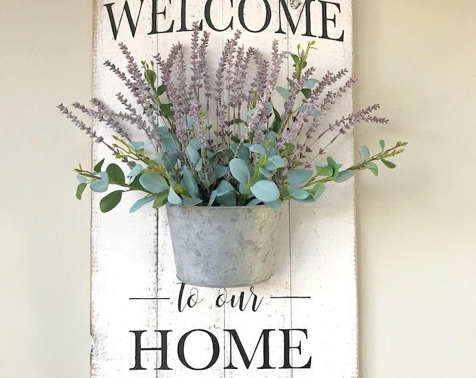 Farmhouse Welcome Sign | Floral Holder Sign