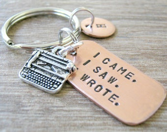 Personalized TYPEWRITER Keychain, Personalized Writing keychain, Writer's keychain I came. I saw. I wrote, writer gift, novelist gift
