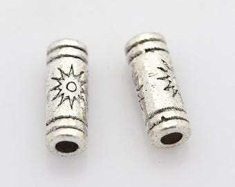 Tibetan silver  tube spacer beads,  antique silver, 1.5mm hole, 25 pieces