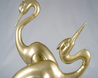 Gorgeous Large Pair of Brass Storks, Marble Base
