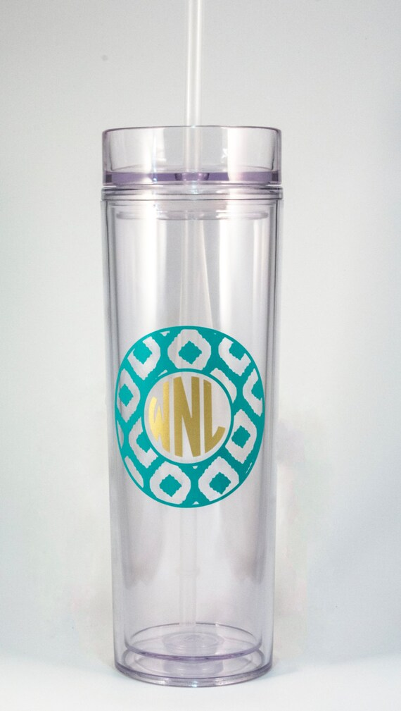 Monogrammed tumbler, double-wall acrylic tumbler, tall skinny cup, travel mug, personalized gift, ikat, patterned, circle monogram cup