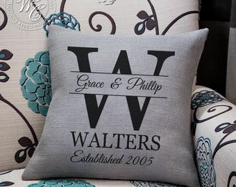 monogram pillow, burlap pillow, personalized pillow, personalized wedding gift, monogrammed pillow, wedding gift, personalised family name