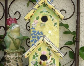 Warbler Two Story Mosaic Bird Condo Collectible