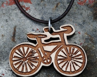 Wooden Bike Necklace Bicycle Jewelry