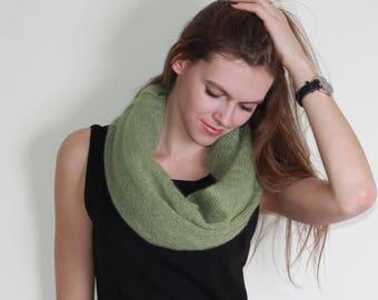Mohair scarf, kid silk scarf, infinity scarf, knitted scarf, knit neck warmer, knit neck warmers scarf, mohair and silk snood, knit snood