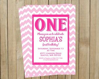 Pink Chevron First Birthday Invitation, One, Custom Digital File, Printable
