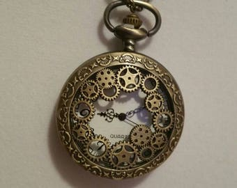 Doctor Who inspired steampunk pocket watch necklace