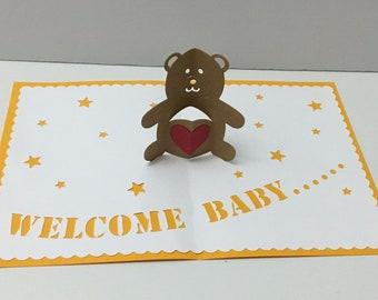 Welcome Baby Pop Up Teddy Bear Card , Heart , Stars , Boy , Girl , Papercut