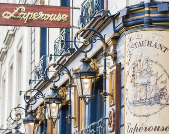 Paris Cafe Photograph, Laperouse Sign and Lights-Horizontal, Large Wall Art, French Kitchen Decor, Fine Art Travel Photograph