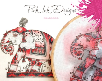 Elephant embroidery pattern. Paint and stitch.