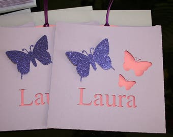 Butterfly christening or birth announcement pink and purple