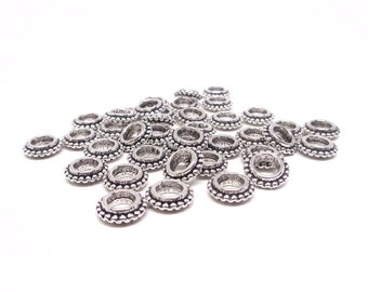 25/50pcs 8mm Antique silver bead separators - Flat round - Alloy - Large hole metal beads 4mm - Tibetan Style - Lead Free