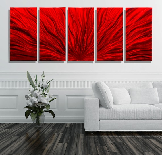 Exceptionnel Oversized Red Modern Metal Wall Art, Multi Panel Wall Art For A Modern  Decor, Extra Large Wall Sculpture   Red Plumage XL By Jon Allen