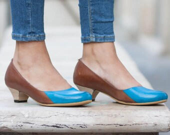 Women Leather Pumps, Leather Heels, Painted Leather Shoes, Heeled Shoes, Brown Leather Shoes, Free Shipping