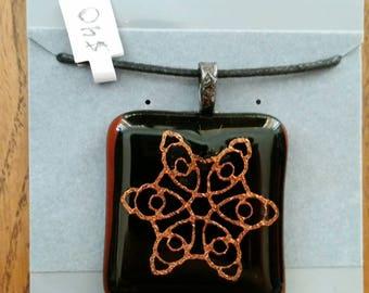 Dichroic Mandala Pattern Fused Glass Pendant