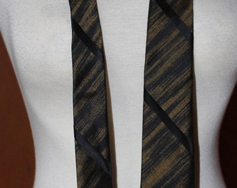 Vintage 1960's tie, black and antique gold silk, Mad Men