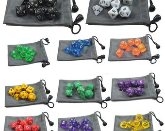 1 Sets 7 sided die of Dungeons & Dragons RPG Dice Game set with one Dice Bag SH24