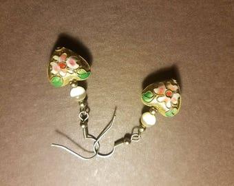 Cloisonne Quartz Vintage Hearts Hippy Classic Earrings
