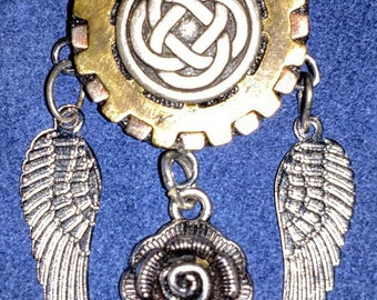 Crazy Bob's Necklace Brooch Steampunk Pin Vintage Clock parts Flower Wings