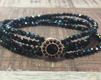 Black Glass Stretch Bracelet/Bracelet/Beaded Bracelet/Bracelet Stack/Gift for Her/Gift/Gift for Woman/Birthday Gift