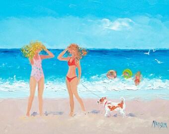 Beach art, beach decor, beach painting, FRAMED miniature art, whimsical art, Beach scenes, 5x7 art, ocean painting, coastal decor, Etsy art