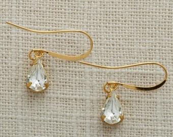 Crystal & Gold Tear Drop Earrings French Hook Diamond Clear Rhinestone Wedding Earrings Bridesmaid Gift Handmade 10mm 6H