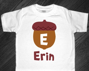 Personalized and Monogrammed Autumn Acorn Shirt or Bodysuit - perfect for Fall