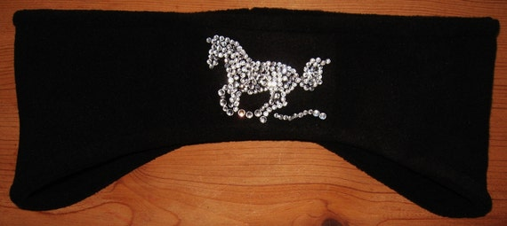 Running Horse, Fleece, Headband, Ear Warmer,Womens Accessories, Winter Wear, Skiing