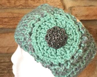Aqua green and gray headband, ladies chunky headband, crochet headband, chunky womens ear warmer, green headband, gray headband