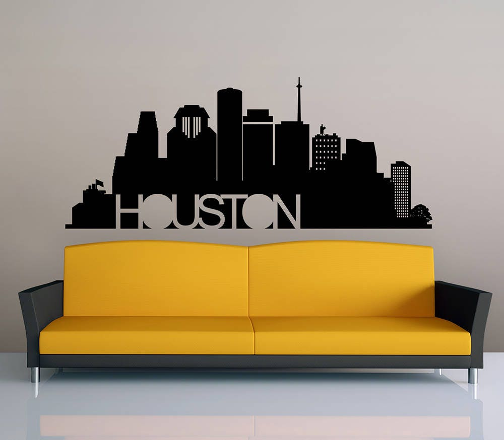 Houston Vinyl Wall Sticker Design, Houston Skyline SVG, Wall Sticker ...