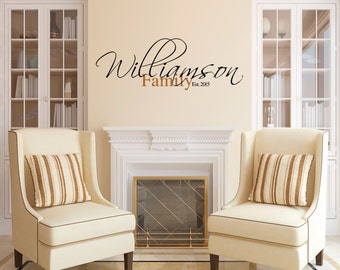 Family Name Wall Decal, Family Name and Established Wall Decal, Family Established Decal,SALE