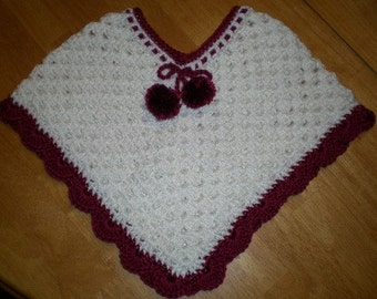 Little Sweetheart Poncho. Girls, Ponchos, Crochet, Hand  crochet poncho, girls fashions, babies, toddlers