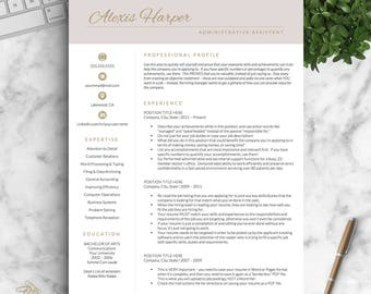 Modern Resume Template for Word and Pages, Modern Resume Design, Feminine Resume, Administrative Assistant Resume | Instant Download Resume