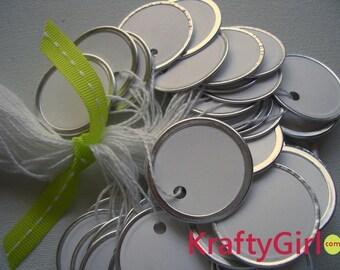White Round Metal Edge Tags - 50 tags
