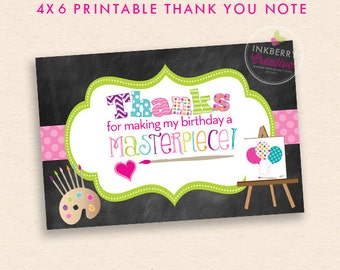 Painting Birthday Party / Art Party Thank You Note - INSTANT DOWNLOAD - Digital, Printable Files
