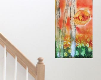 Aspen Tree Art Wall Hanging Original Watercolor Painting Colorado Art Anniversary Gift for Him Home Decor Office Decor Den Artwork Fine Art