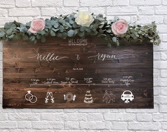 Custom Wedding Welcome Sign with Timeline