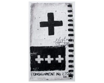 Black Cross - original grunge graffiti style art on plastered fabric, acrylic painting, spray paint.
