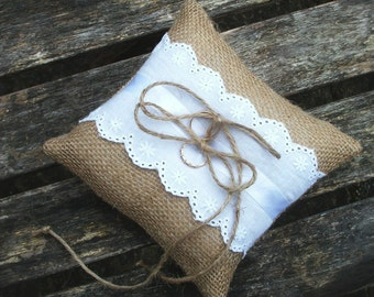 Ring Bearer Pillow/Cushion in Natural Burlap and White Eyelet Lace Trim