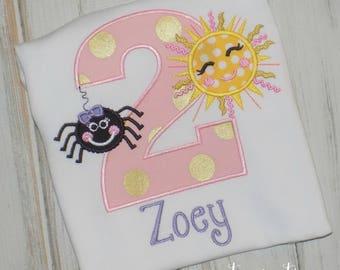 Itsy Bitsy Spider Birthday shirt, spider birthday shirt, sun birthday shirt, bitsy spider shirt, girl birthday shirt, sew cute creations