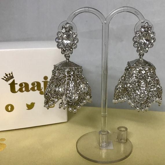 Risha Silver zirconia pearl jhumka earrings, Indian bridal Pakistani prom party wear jewellery