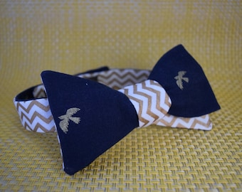 Gold Birds on Navy/Gold and White Chevron Bow Tie