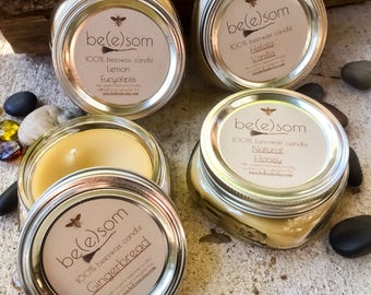 Set of 4 100% Pure Beeswax Candle-4/8oz jars of pure beeswax in a flat Mason Jar-organic beeswax scented or unscented