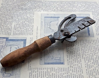 Vintage tool for hand saw, antique metal tool with wooden handle, industrial, collectibles tool, made in Russia