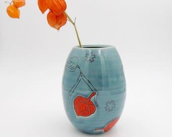 Clay Vase // Utensil holder, ceramic flower vase, handmade pottery, wheelthrown pottery, turquoise vase, chinese lantern plant, decals