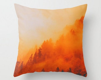 Fiery Throw Pillow, Landscape Photo Pillow Cover, On Fire, Vibrant Orange Pillow Cover, Green, Mist Swept Hills, Forest Home Decor, 16x16