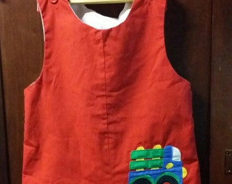 Little boy red vintage dump truck rompers, size 4T