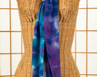 Silk Scarf, Long, Purple, Turquoise Blue, Crepe de Chine, Hand Dyed, Hand Made, READY To SHIP, Gift, Christmas Gift, Gift for Her, 611