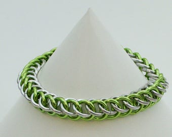 Half Persian 3in1 / Lime Green and Silver / Chainmaille Bracelet