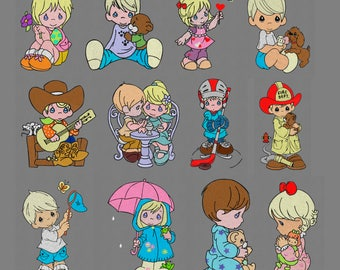 "12 set embroidery designs 5x7"" Precious Moments boy girl kid pes hus jef"